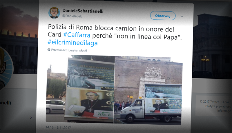 Policja zatrzymała upamiętniających kardynała Caffarrę. Bo nie zgadzał się z Franciszkiem
